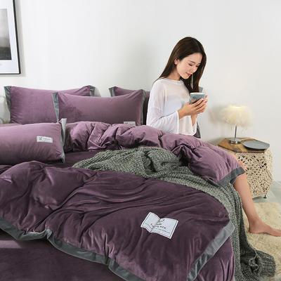 2019新款北欧风水晶绒四件套 1.2m(4英尺)床单款三件套 绛紫