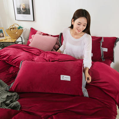 2019新款北欧风水晶绒四件套 1.2m(4英尺)床单款三件套 酒红