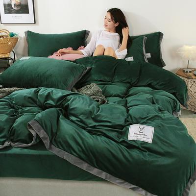 2019新款北欧风水晶绒四件套 1.2m(4英尺)床单款三件套 墨绿