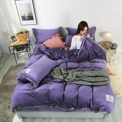2019新款北欧风水晶绒四件套 1.2m(4英尺)床单款三件套 茄紫
