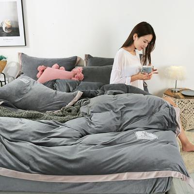 2019新款北欧风水晶绒四件套 1.2m(4英尺)床单款三件套 深灰