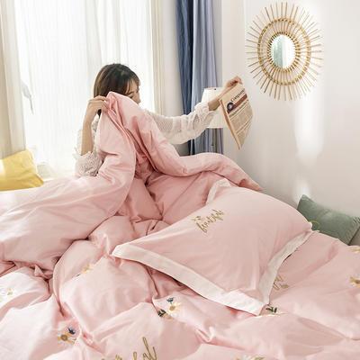 2019新款新款长绒棉第二批四件套 1.5m(5英尺)床单款 雏菊-粉