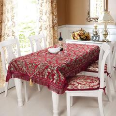 2018新款-布鲁塞尔雪尼尔欧式桌布、桌旗、椅垫 大号椅垫35*48*48 酒红