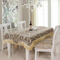2018新款-布鲁塞尔雪尼尔欧式桌布、桌旗、椅垫 桌布110*110cm(长度含流苏) 米色