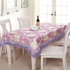 2018新款-凤尾花雪尼尔欧式桌布 桌布110*110cm(长度含流苏 紫色