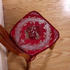浪漫满屋欧式餐椅垫中式椅子坐垫加厚餐桌带绑带办公室凳子座椅垫子可拆洗 小号35*45*43cm 浪漫满屋--酒红