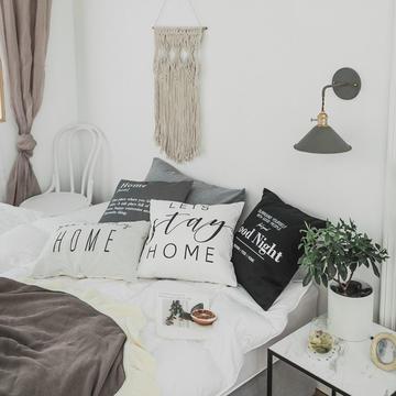北欧黑白字母印花抱枕淘宝热卖ins爆款靠垫套 45*45cm (单枕套) Home(灰色)