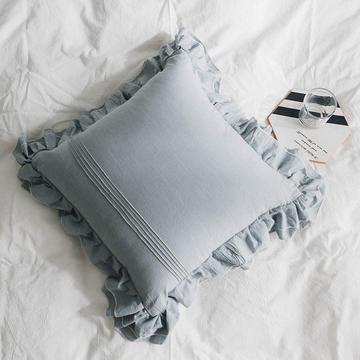 韩式水洗棉荷叶边靠垫含芯纯棉木耳边抱枕ins风腰靠