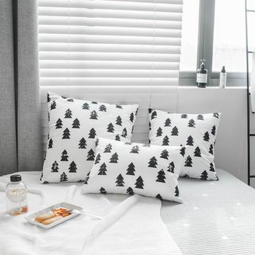 新款北欧黑白天鹅绒印花靠垫抱枕腰枕长枕