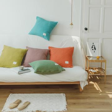 日式华夫格简约纯色抱枕靠垫床品搭配装饰腰靠 50X50cm(含枕芯) 草木绿19