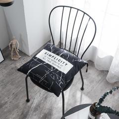北欧黑白坐垫珍珠棉钉针座垫大理石纹印花 40X40cm 黑大理石