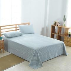 佐宜家纺2018新款32支全棉水洗棉系列单品床单 160*230cm 小格蓝色