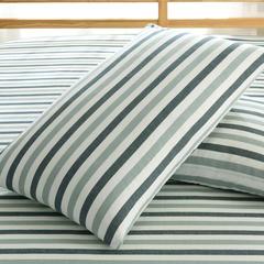 佐宜家纺2018新款32支全棉水洗棉系列单品枕套 48cmX74cm枕套一对 三色条蓝色