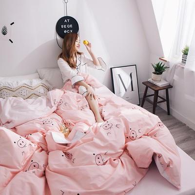2019新款全棉13070小清新系列-单被套 150x200cm 猪猪女孩