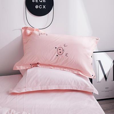 2019新款全棉13070小清新系列-单枕套 48cmX74cm/只 猪猪女孩
