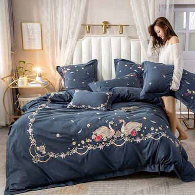 2019新款60长绒棉磨毛刺绣清新款四件套 1.2m床单款三件套 爱相随-藏蓝