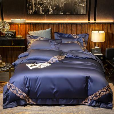 2020新款100支长绒棉刺绣四件套—拉菲尔 1.2m床单款三件套 拉菲尔-黛蓝