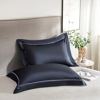 2020新款60S长绒棉四件套-KL系列极有家风格—单品枕套(48*74cm/对) 48cmX74cm/对 KL-藏蓝