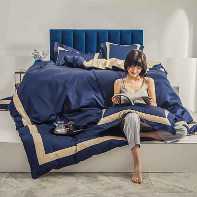 2020新款100支双股长绒棉四件套—香榭丽(拍法二) 1.2m床单款三件套 香榭丽-海松蓝