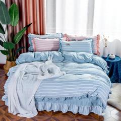 天丝麻色织水洗棉细节图 宽幅 幸福约定-浅蓝