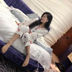 2018新款韩国原单碎花甜美可人睡衣 均码 白色