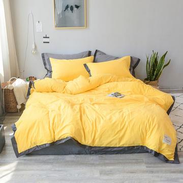 小确幸可可系列水洗全棉四件套 1.2m 床(床单款三件套) 可可亮黄