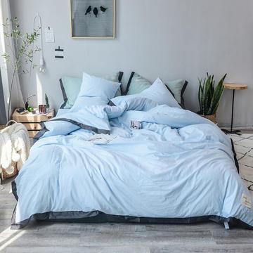 小确幸可可系列水洗全棉四件套 1.2m 床(床单款三件套) 可可亮蓝