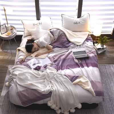 2018秋冬新款笙意羊羔绒双层毛毯 100cmx140cm 时尚条纹-紫