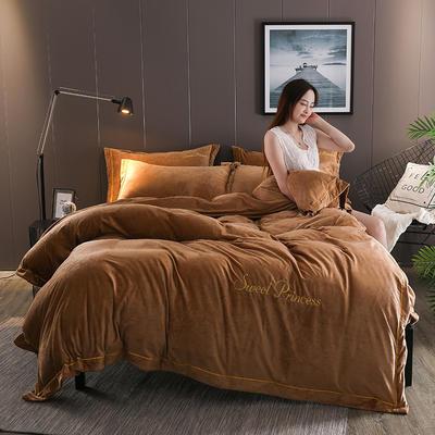 2019新款-绣花水晶绒四件套 1.8m(6英尺)床 妮可-咖啡金