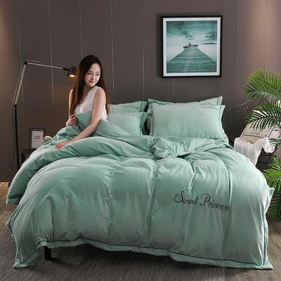 2019新款-绣花水晶绒四件套 1.8m(6英尺)床 妮可-浅绿色