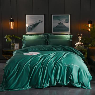 2019新款-水洗真丝四件套 1.8m(6英尺)床 安琪拉-墨绿