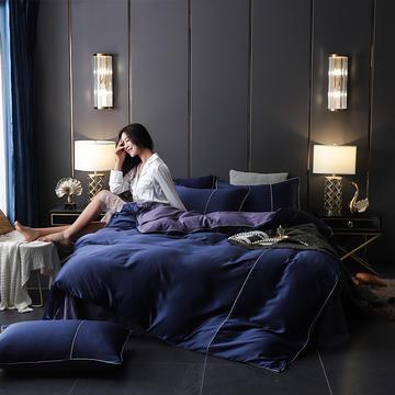2019新款-A版水洗真丝B版纯棉四件套 1.5m(5英尺)床 御沁-藏蓝紫
