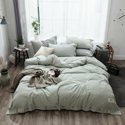 2019新款-自由棉麻风系列四件套 床笠款1.5m(5英尺)床 薄荷绿
