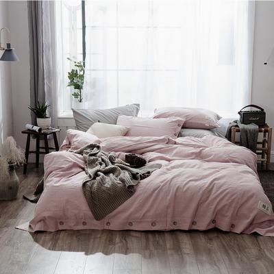 2019新款-自由棉麻风系列四件套 床笠款1.5m(5英尺)床 典雅粉