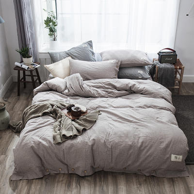 2019新款-自由棉麻风系列四件套 床笠款1.5m(5英尺)床 典雅灰