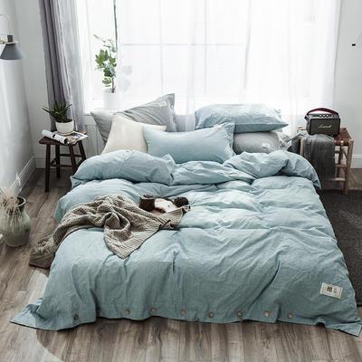2019新款-自由棉麻风系列四件套 床笠款1.5m(5英尺)床 谧静蓝