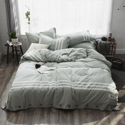 2019新款-自由棉麻风系列四件套 床笠款1.5m(5英尺)床 清风绿