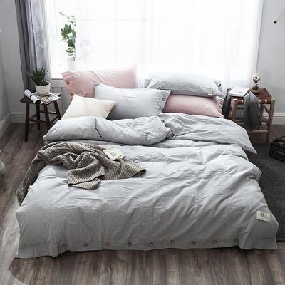 2019新款-自由棉麻风系列四件套 床笠款1.5m(5英尺)床 珊瑚灰