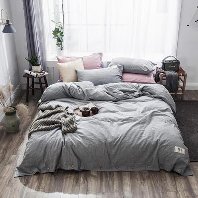 2019新款-自由棉麻风系列四件套 床笠款1.5m(5英尺)床 时尚灰