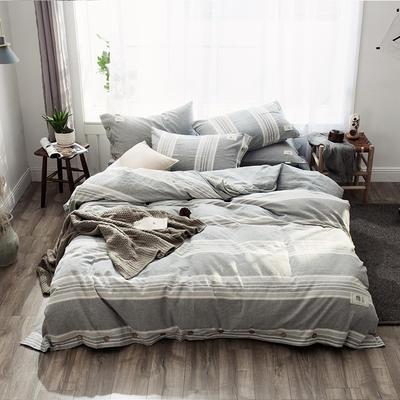 2019新款-自由棉麻风系列四件套 床笠款1.5m(5英尺)床 水墨绿