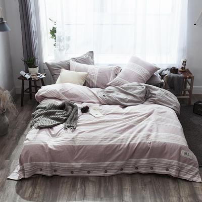 2019新款-自由棉麻风系列四件套 床笠款1.5m(5英尺)床 素雅紫