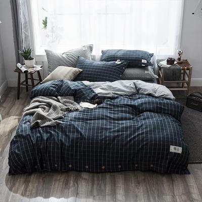 2019新款-自由棉麻风系列四件套 床笠款1.5m(5英尺)床 玄青黑