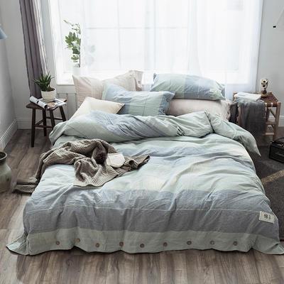 2019新款-自由棉麻风系列四件套 床笠款1.5m(5英尺)床 天海蓝