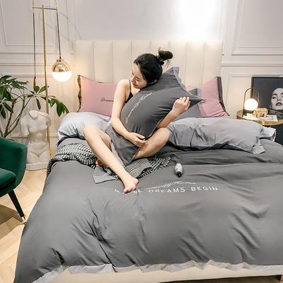 2019新款-轻奢水洗刺绣四件套 床单款1.8m(6英尺)床 古典灰