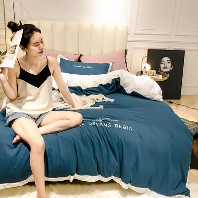 2019新款-轻奢水洗刺绣四件套 床单款1.8m(6英尺)床 密鲁蓝