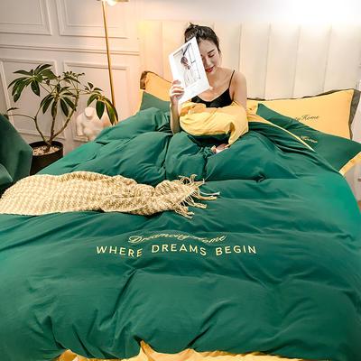 2019新款-轻奢水洗刺绣四件套 床单款1.8m(6英尺)床 松石绿