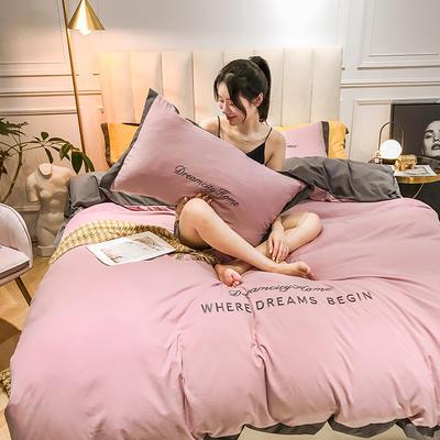2019新款-轻奢水洗刺绣四件套 床单款1.8m(6英尺)床 樱花粉