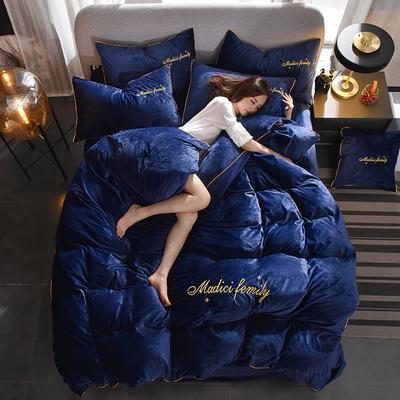 2019新款-水晶绒卡珞琳四件套 床单款四件套1.8m(6英尺)床 卡珞琳-宝蓝