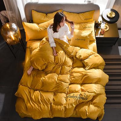 2019新款-水晶绒卡珞琳四件套 床单款四件套1.8m(6英尺)床 卡珞琳-姜黄