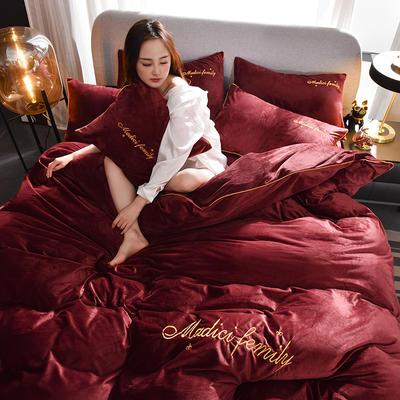 2019新款-水晶绒卡珞琳四件套 床单款四件套1.8m(6英尺)床 卡珞琳-酒红